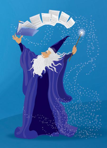 wizard logo blue background